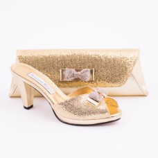 SL181 - Gold Shoes and Bag SET