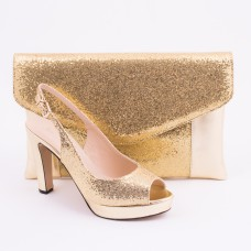 SL182 - Gold Shoes and Bag SET