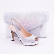 SL182 - Silver Shoes and Bag SET
