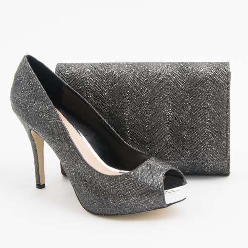 SL204 - Pewter Shoes and Bag SET