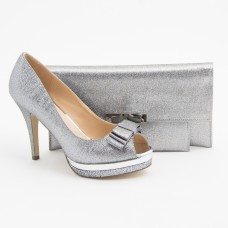 SL205 - Silver Shoes and Bag SET