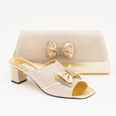 SL355 - Gold Shoes and Bag SET