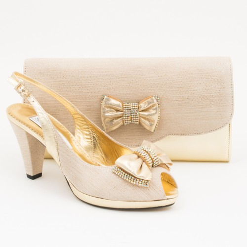 SL356 - Gold Shoes and Bag SET