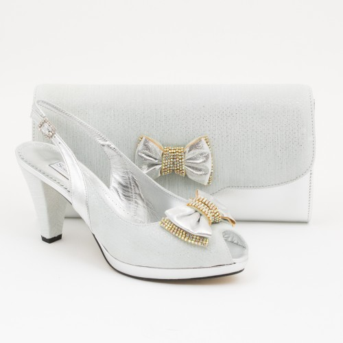 SL356 - Silver Shoes and Bag SET